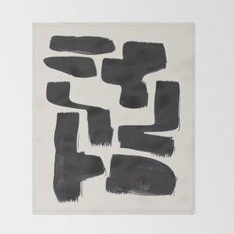 Mid Century Modern Minimalist Abstract Art Brush Strokes Black & White Ink Art Shapes Throw Blanket