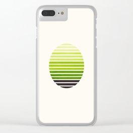 Sap Green Mid Century Modern Minimalist Scandinavian Colorful Stripes Geometric Pattern Round Circle Clear iPhone Case