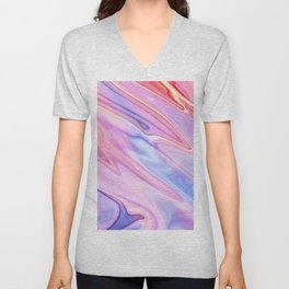 Colorful flowing marble swirls background Unisex V-Neck