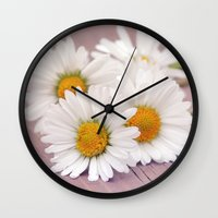 daisies Wall Clocks featuring Daisies. by Mary Berg