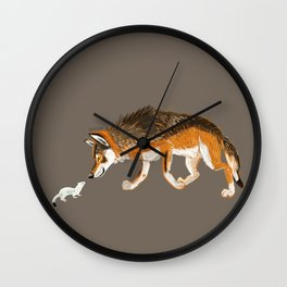 Italian Wolf & Stoat (c) 2017 Wall Clock
