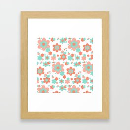 Coral and Mint Green Floral Framed Art Print