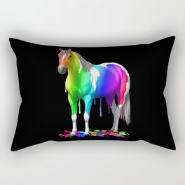 Colorful Rainbow Dripping Wet Paint Horse Rectangular Pillow