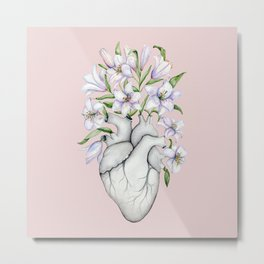Floral Human Heart with Lily: Blooming Anatomy, Anatomical Art, Floral Lilies Light Pink Doctor Mother's Day Gift Metal Print