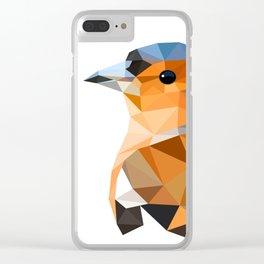 Chaffinch Bird art Geometric artwork Orange brown and blue Clear iPhone Case