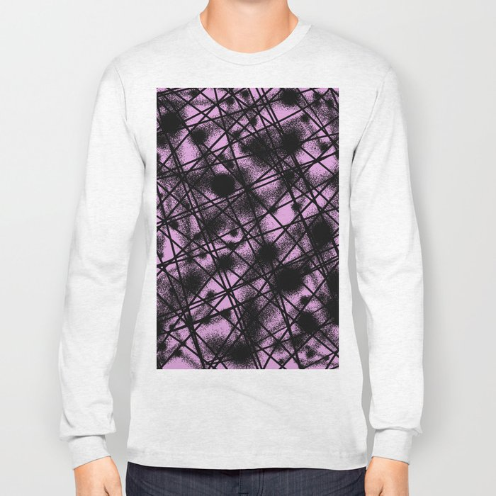 Web Of Lies - Black and pink conceptual, abstract, minimalistic artwork Long Sleeve T-shirt