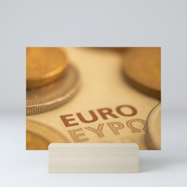 Approach of European currency. Euros and coins. Mini Art Print