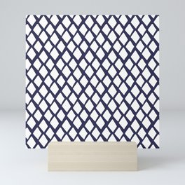 Rhombus White And Blue Mini Art Print