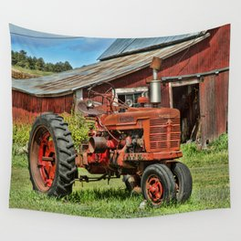 1952 Red Tractor Wall Tapestry