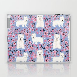 Westie cherry blossoms west highland terrier cutest fluffy white dog breed pattern art Laptop & iPad Skin