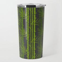 Lime Green Bamboo Leaves Pattern on Grey Travel Mug
