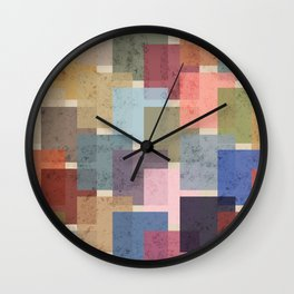 Vintage Colorful Squares Wall Clock
