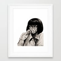 mia wallace Framed Art Prints featuring Mia Wallace by Justine Lecouffe