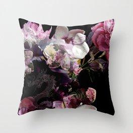 Peony magnolia chinese dragon Throw Pillow