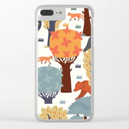 Trees Scenery Pattern Clear iPhone Case