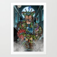 teenage mutant ninja turtles Art Prints featuring Ninja Time! by Mercenary Art Studio