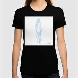 BlueWoman Holding Champagne Looking Back T-shirt