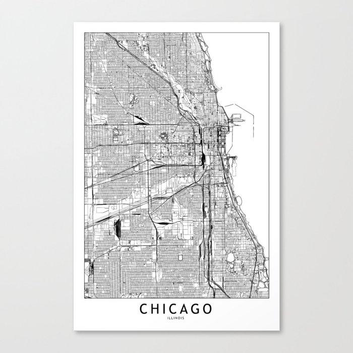 Chicago White Map Leinwanddruck
