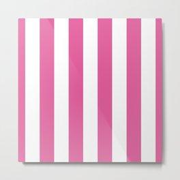 Icing Pink Cupcake and White Cabana Stripes Metal Print
