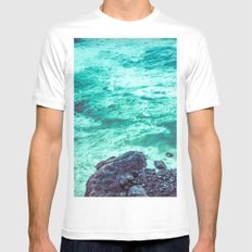 Ocean Coast - Retro Seals in the Teal Sea Water MEDIUM Mens Fitted Tee White