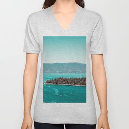 Even in the summer this lake looks like a frozen glass. Unisex V-Neck