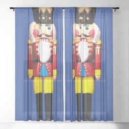 Nutcracker Merry Christmas - blue Sheer Curtain