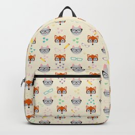Cat and Fox seamless pattern Backpack
