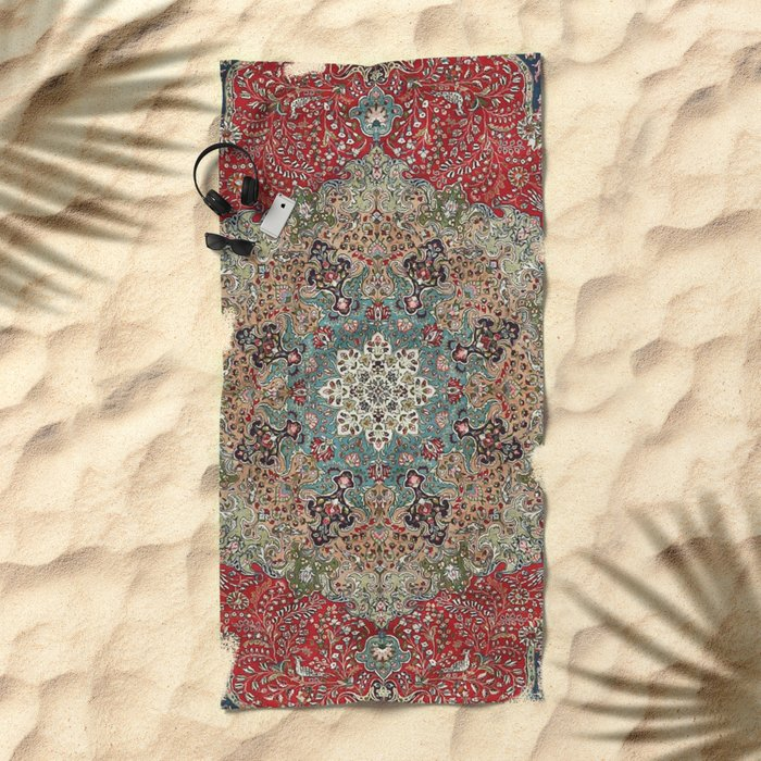 Antique Red Blue Black Persian Carpet Print Beach Towel