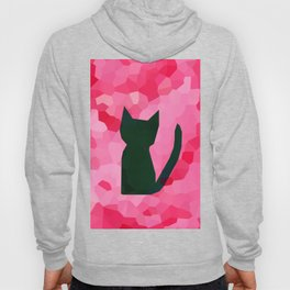 Pink Stained Glass Abstract Black Kitty Cat Hoody