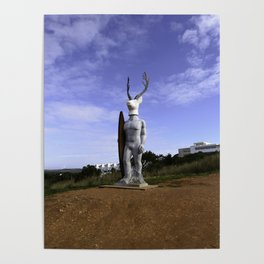 Veado Surfer Statue Standing Tall Poster