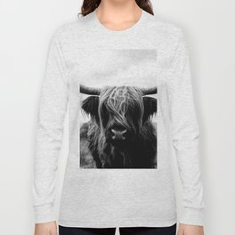 Scottish Highland Cattle Black and White Animal Long Sleeve T-shirt