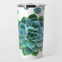 WHITE MODERN ART TURQUOISE BLUE SUCCULENT Travel Mug