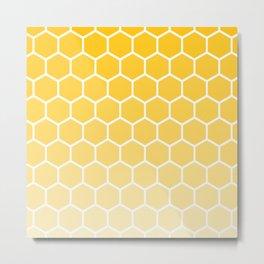 Bright yellow gradient honey comb pattern Metal Print