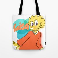 simpson Tote Bags featuring Lisa Simpson by Burgandy Balloons