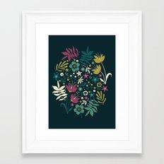 Midnight Florals (pop) Framed Art Print