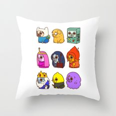 Pugventure Time! Throw Pillow