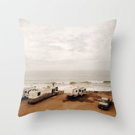 Campers on the beach Throw Pillow