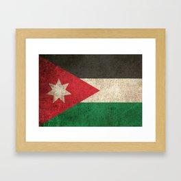 Old and Worn Distressed Vintage Flag of Jordan Framed Art Print