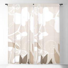 Pantone Hazelnut Botanicals and Butterflies Graphic Design Blackout Curtain