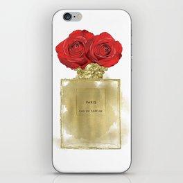 Red Roses & Fashion Perfume Bottle iPhone Skin