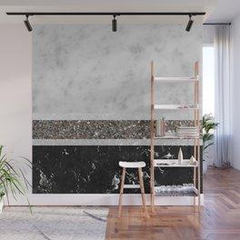 White and Black Marble Silver Glitter Stripe Glam #1 #minimal #decor #art #society6 Wall Mural