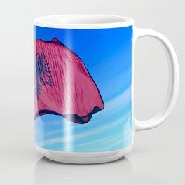 Albania flag waving on the wind Mug