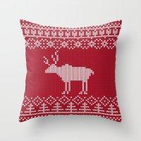 reindeer Throw Pillows featuring  Reindeer by Julia Badeeva