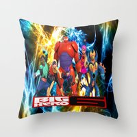 big hero 6 Throw Pillows featuring Big Hero 6 by ezmaya