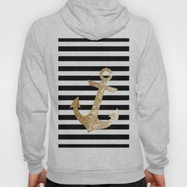 GOLD GLITTER ANCHOR IN BLACK AND NUDE Hoody