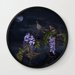Doves In Moonlight Wall Clock