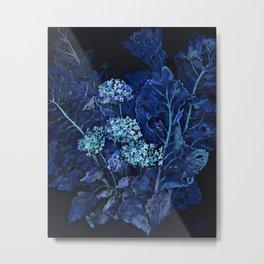 Hydrangea and Horseradish, Blue and Black Metal Print