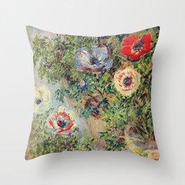 Claude Monet - Stilll Life With Anemones Throw Pillow