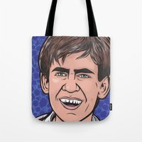 caleb troy Tote Bags featuring Troy by turddemon