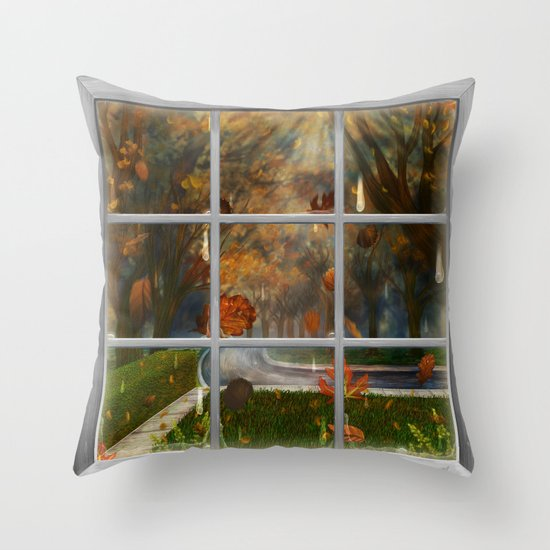One Rainy Day In The Fall - Painting Throw Pillow